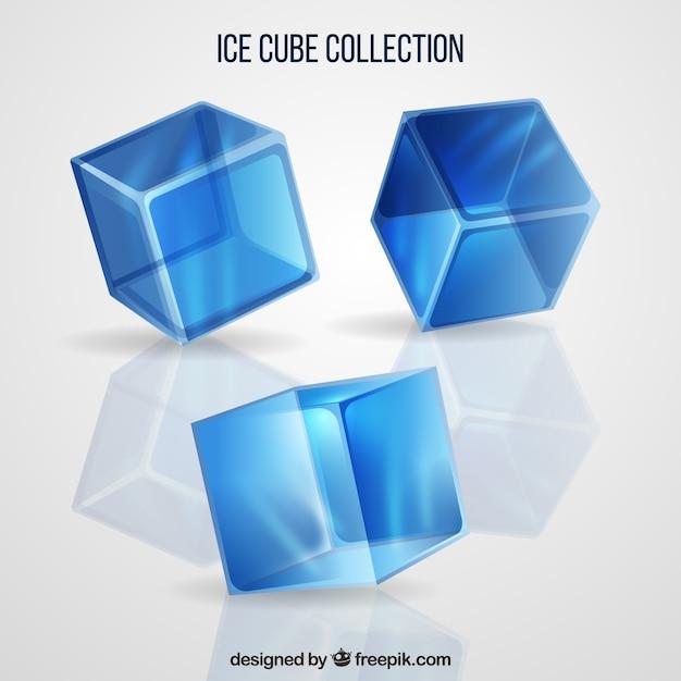 Eiswürfel sammlung mit realistischen stil Kostenlosen Vektoren