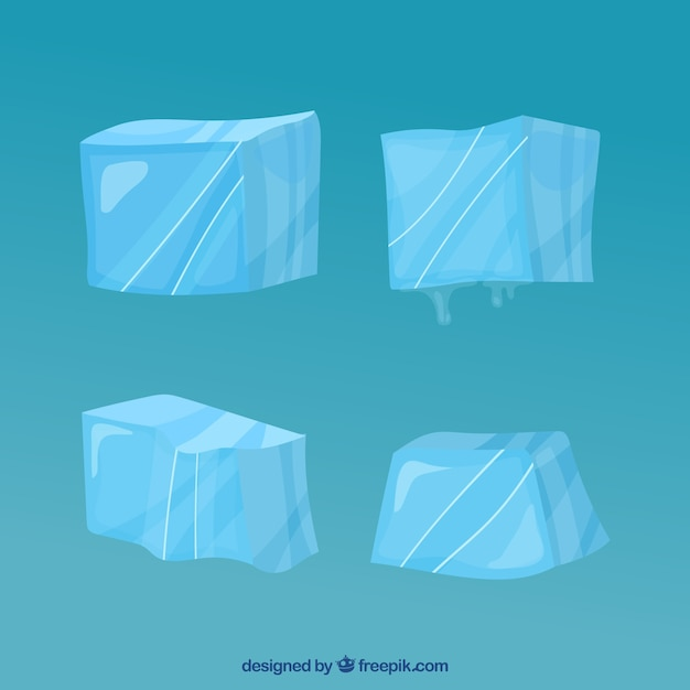 Eiswürfelsammlung mit hand gezeichneter art Kostenlosen Vektoren