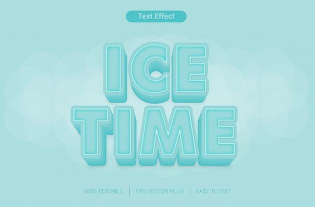 Eiszeit bearbeitbarer textstileffekt Premium Vektoren