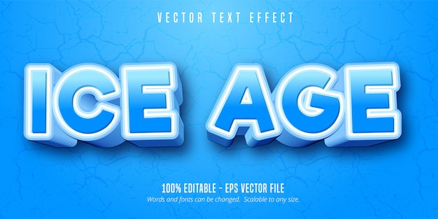 Eiszeittext, bearbeitbarer texteffekt im cartoon-stil Premium Vektoren