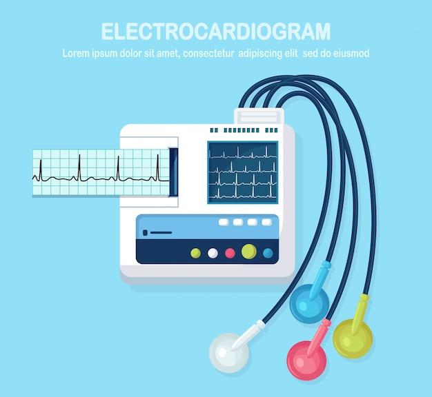 Ekg-maschine auf hintergrund isoliert. elektrokardiogramm-monitor zur diagnose des menschlichen herzens mit ekg-grafik. medizinische ausrüstung für krankenhaus mit diagramm des herzschlagrhythmus. Premium Vektoren