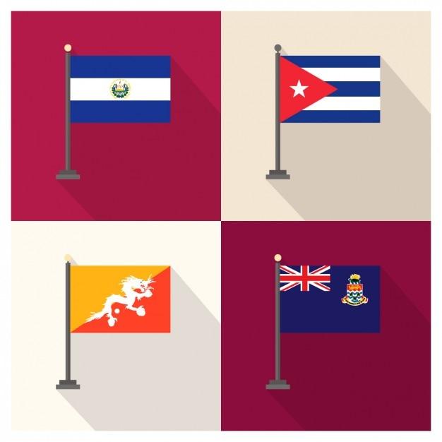 El Salvador Kuba Bhutan und Cayman Islands Flags Kostenlose Vektoren