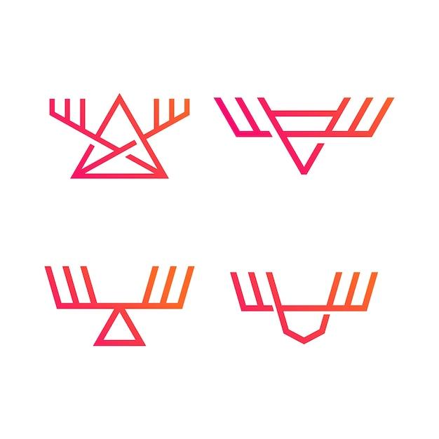 Elch-logos festgelegt Premium Vektoren