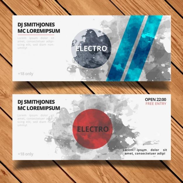 Electro party banner gesetzt Kostenlosen Vektoren
