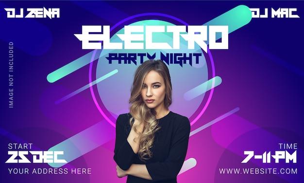 Electro party banner oder post Premium Vektoren