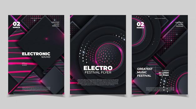 Electro sound party musikplakat. elektronische club deep music. musikalische veranstaltung disco trance sound. einladung zur nachtparty. dj-fliegerplakat. Premium Vektoren