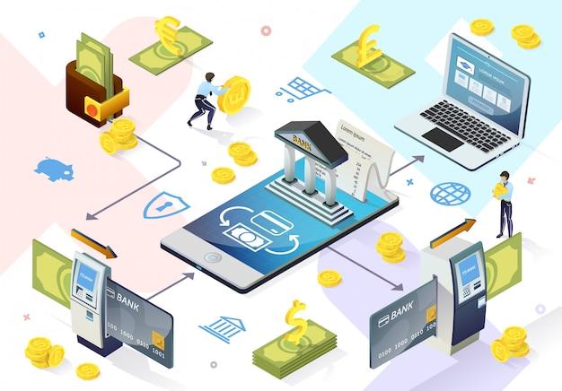 Electronic banking system online-zahlungen Premium Vektoren