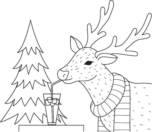 Elefant, der cocktailglas auf den bäumen für malbuch, malvorlage trinkt. illustration Premium Vektoren