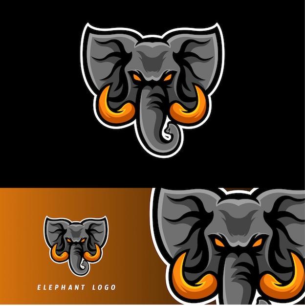 Elefant esport spielmaskottchenemblem Premium Vektoren