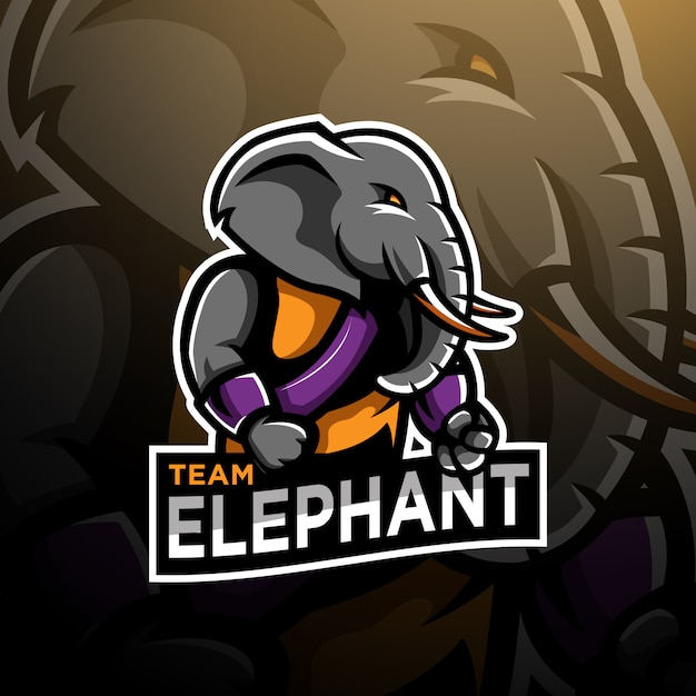 Elefant kämpfer logo gaming esport vorlage Premium Vektoren