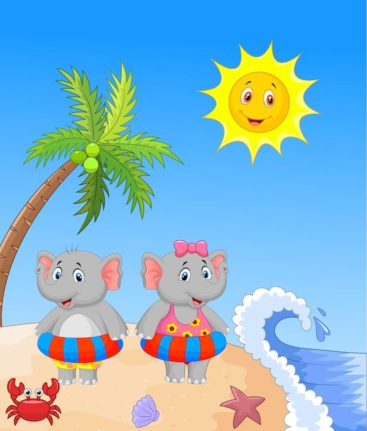 Elefant mit aufblasbarem ring am strand Premium Vektoren