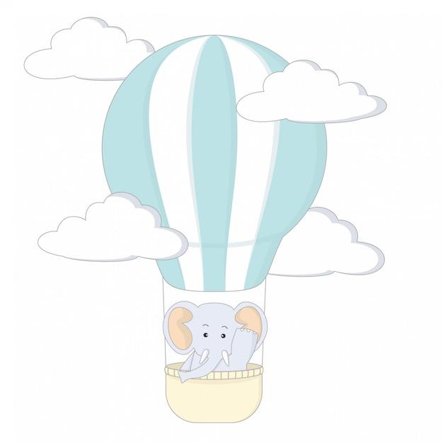 elefant mit luftballon  premiumvektor