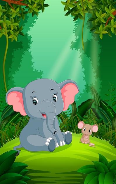 elefant und maus im klaren und grünen wald  premiumvektor