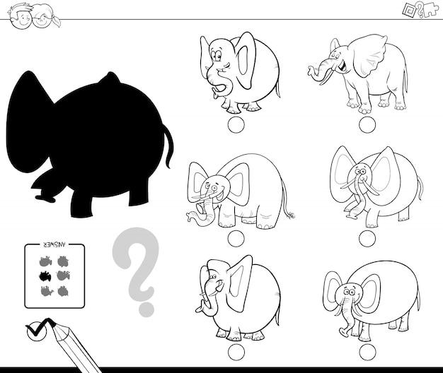 Elefanten Schatten Spiel Malbuch | Download der Premium Vektor