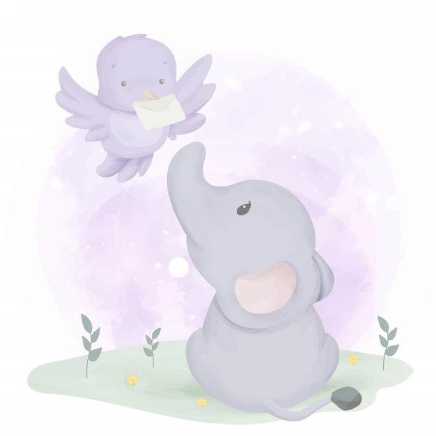 Elefantenbaby bekommt post vom vogel Premium Vektoren