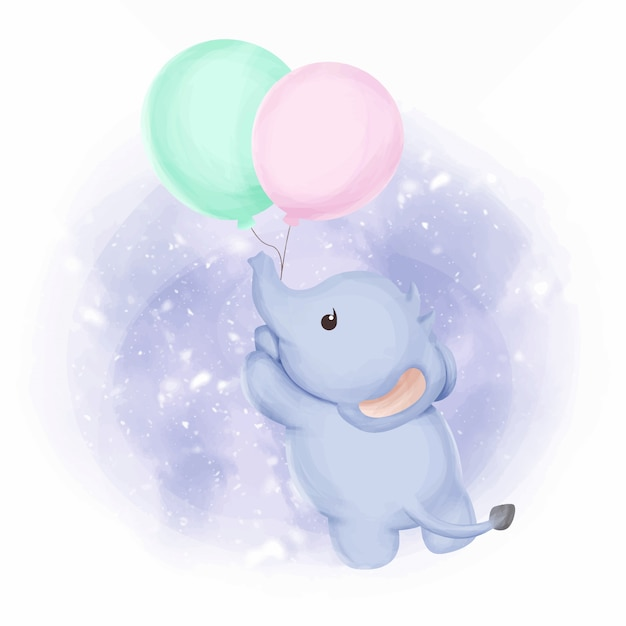Elefantenbaby fliegen mit luftballons Premium Vektoren