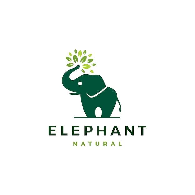 Elefantenblatt verlässt baumlogo-ikonenschablone Premium Vektoren