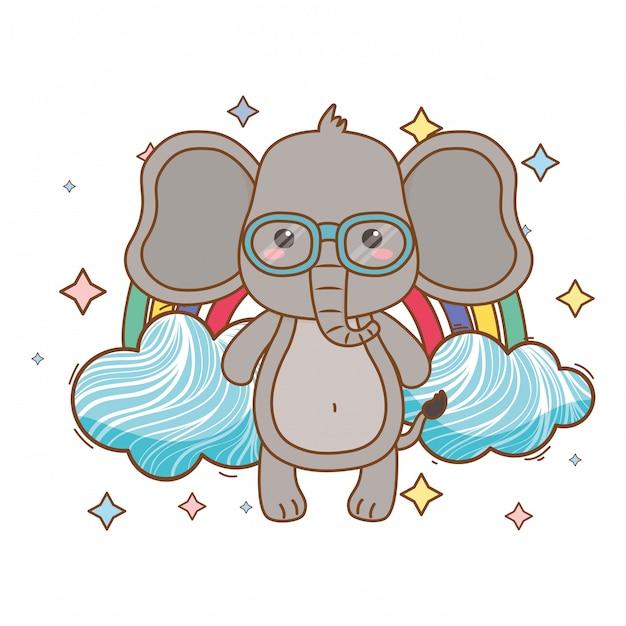 Elefantenkarikatur-vektorillustrator Premium Vektoren