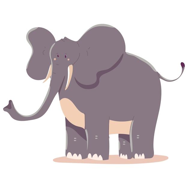 Elefantenkarikaturillustration lokalisiert auf einem weißen hintergrund. Premium Vektoren