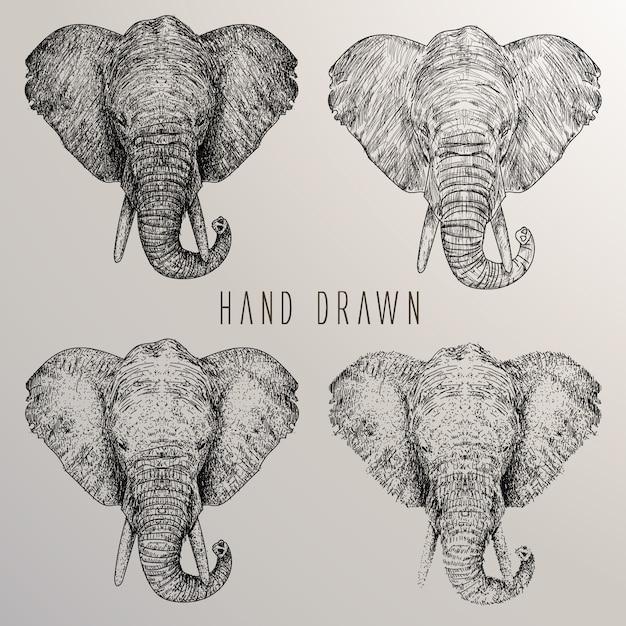 elefantenkopf handgezeichnete sammlung download der. Black Bedroom Furniture Sets. Home Design Ideas