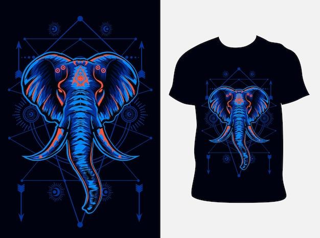 Elefantenkopfillustration mit t-shirt design Premium Vektoren