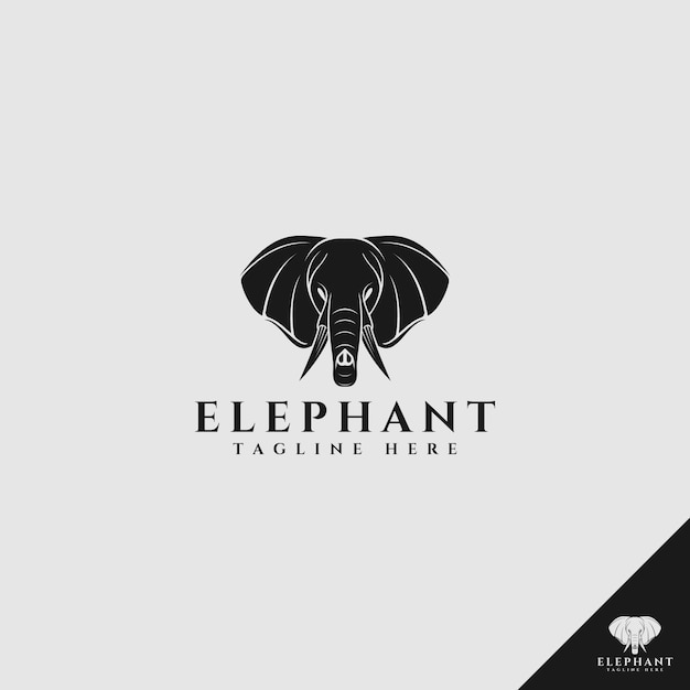 Elefantenkopflogo mit schattenbildart Premium Vektoren