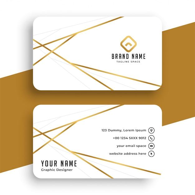 Elegant während und goldvisitenkarteschablonendesign Kostenlosen Vektoren