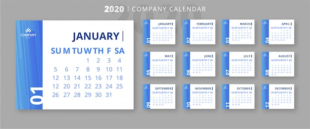 Elegante 2020 firmenkalender vorlage Kostenlosen Vektoren