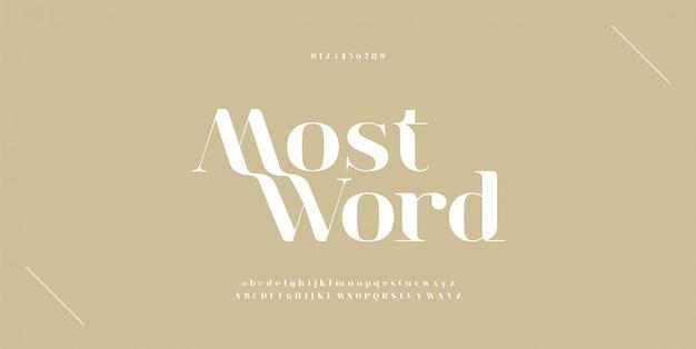 Elegante alphabetbuchstaben schriftart und nummer. typografie-schriftarten werden regelmäßig in groß- und kleinbuchstaben geschrieben. Premium Vektoren