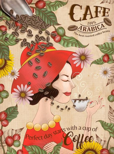 Elegante arabica-kaffeebohnen-anzeigen, eine dame im roten kleid genießt eine tasse schwarzen kaffee im gravurstil Premium Vektoren