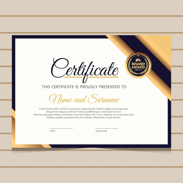 Elegante blau- und golddiplom-zertifikatschablone Premium Vektoren
