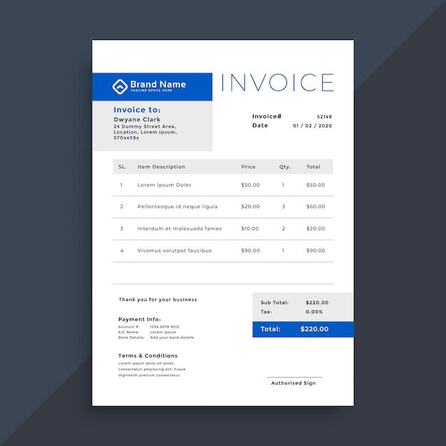 Elegante blaue geschäftsrechnungsschablone Kostenlosen Vektoren
