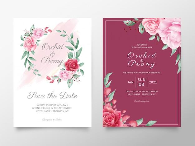 Elegante blumen, die einladungskarten-schablonensatz wedding sind Premium Vektoren