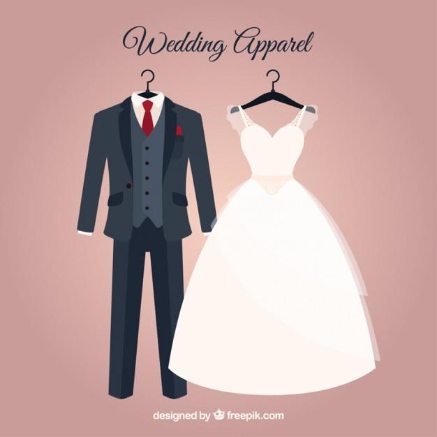 Elegante braut kleid und hochzeitsanzug Kostenlosen Vektoren