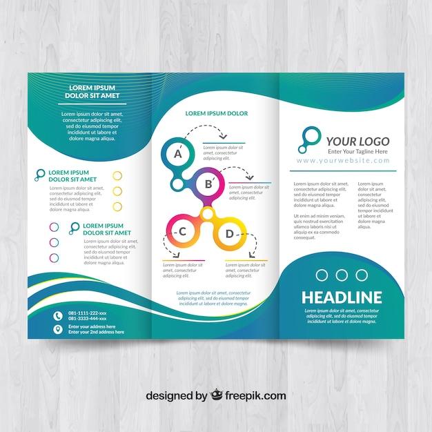 Elegante broschüre vorlage mit wellen Kostenlosen Vektoren
