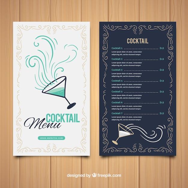Elegante Cocktailkarte Vorlage | Download der kostenlosen Vektor