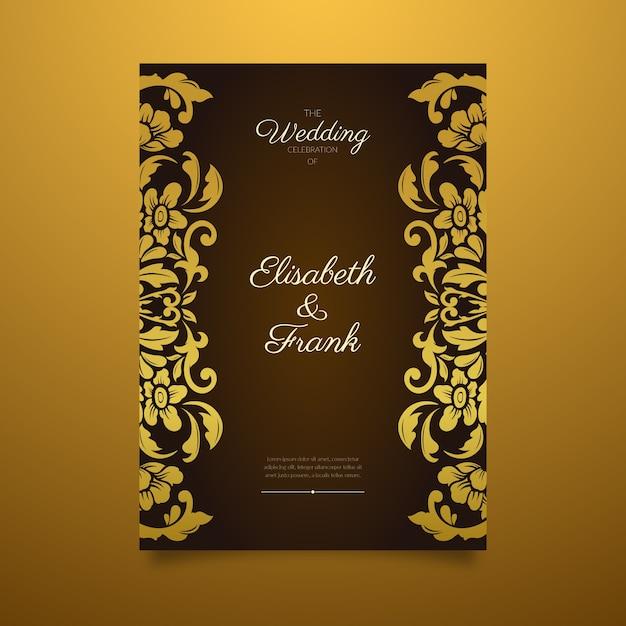 Elegante damasthochzeits-einladungsschablone mit goldener grenze Kostenlosen Vektoren