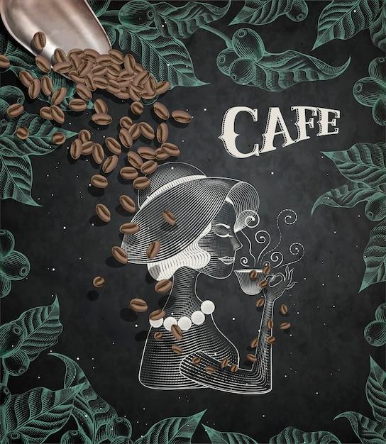 Elegante dame, die kaffee trinkt, gravurartblätter und kaffeekirschenrahmen auf tafelhintergrund, kaffeeschaufel in der illustration Premium Vektoren