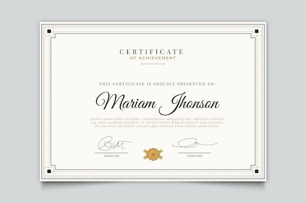 Elegante design-zertifikatvorlage Kostenlosen Vektoren