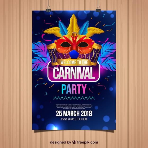 Elegante dunkelblaue Flyer Vorlage für Karneval Kostenlose Vektoren