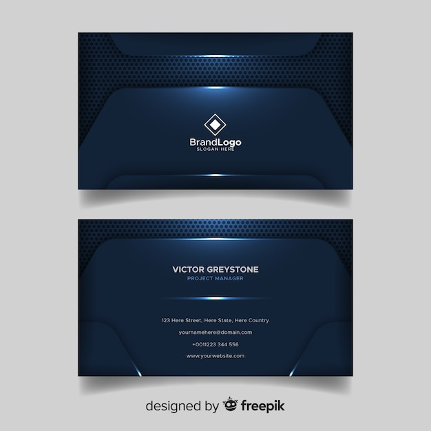 Elegante dunkelblaue visitenkarte mit logo Kostenlosen Vektoren