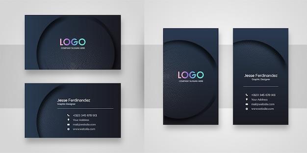 Elegante dunkle gebogene visitenkarteschablone Premium Vektoren