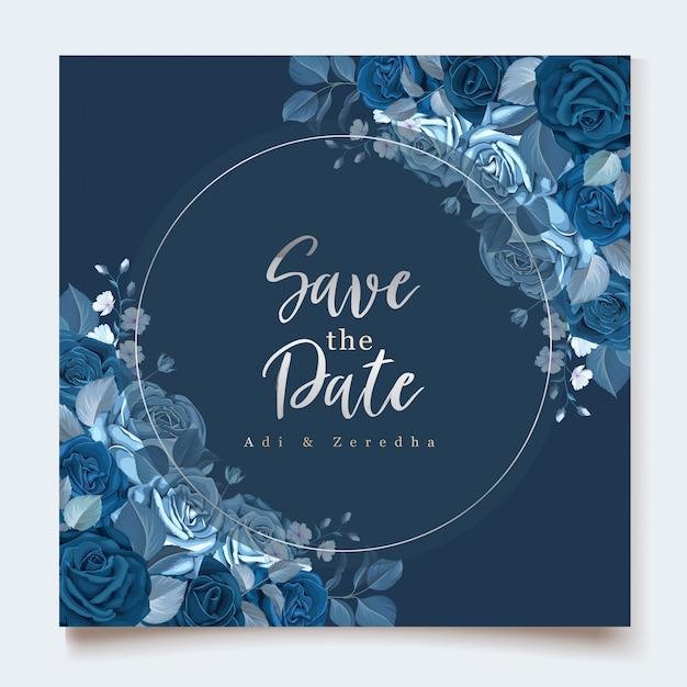 Elegante einladungskarte mit klassischer blauer blumenschablone Kostenlosen Vektoren