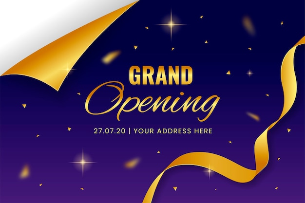 Elegante einladungskartenschablone der großen eröffnung Premium Vektoren