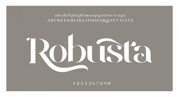 Elegante fantastische alphabetbuchstabenschrift und -zahl. klassische beschriftung minimal fashion designs. typografie-schriftarten werden regelmäßig in groß- und kleinbuchstaben geschrieben. vektorillustration Premium Vektoren