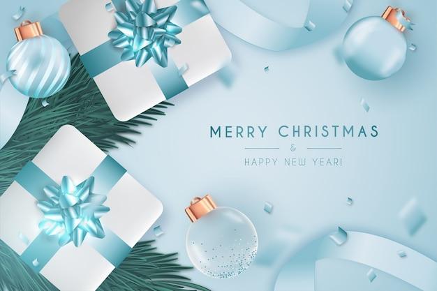 Elegante frohe weihnachten und neujahr karte mit pantone design Kostenlosen Vektoren