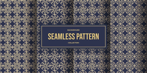 Elegante geometrische linie nahtlose musterkollektion Premium Vektoren