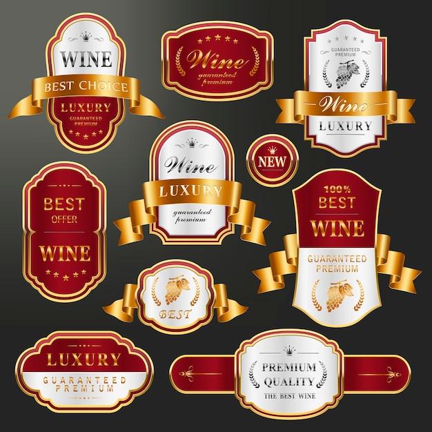 Elegante goldene etikettenkollektion für premiumwein Premium Vektoren