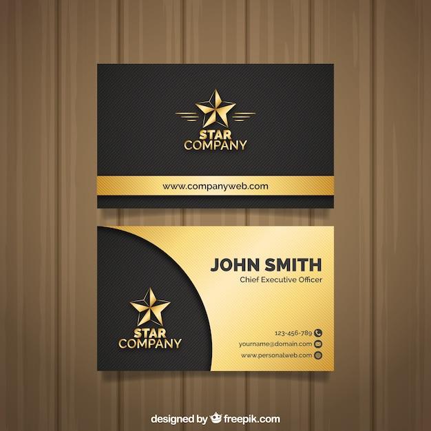 Elegante goldene visitenkarte Kostenlosen Vektoren