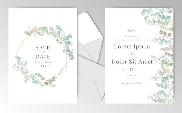 Elegante hand gezeichnete hochzeitseinladungskarte mit blättern Premium Vektoren